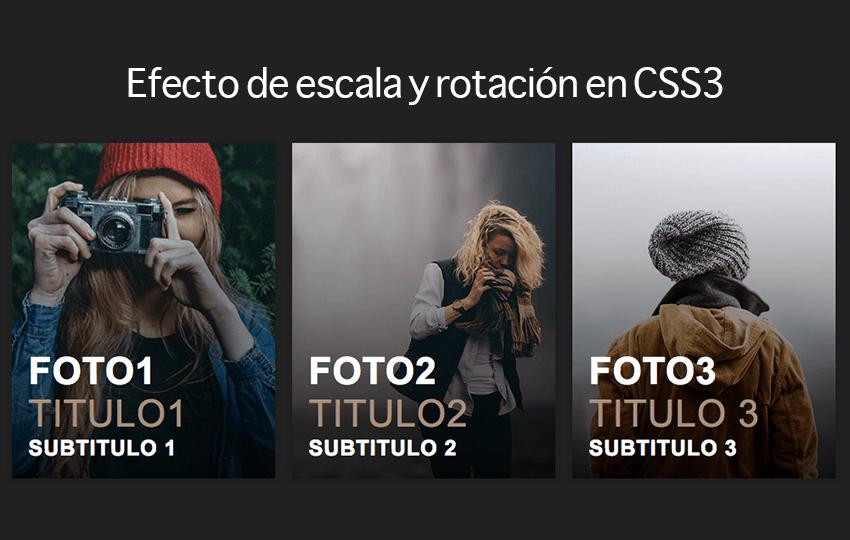 Efecto de escala y rotación en CSS3