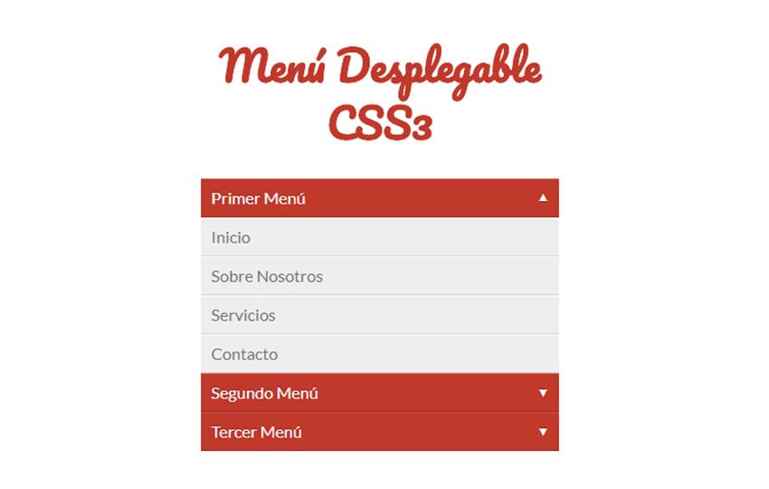 Menú Desplegable CSS3