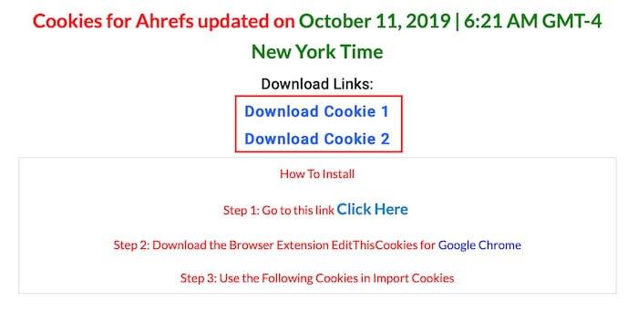 Descargar Cookies de Ahrefs Gratis