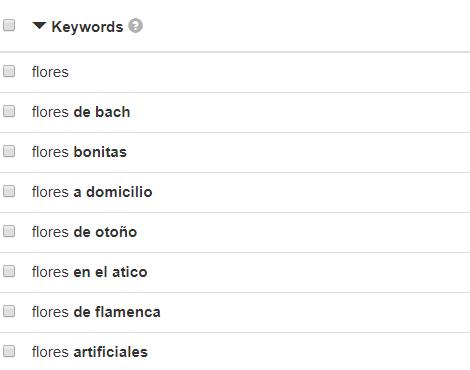 Resultados Búsquedas Herramienta Keyword Tool IO