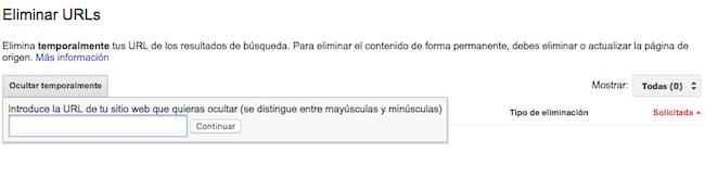 eliminar urls indexadas en Google