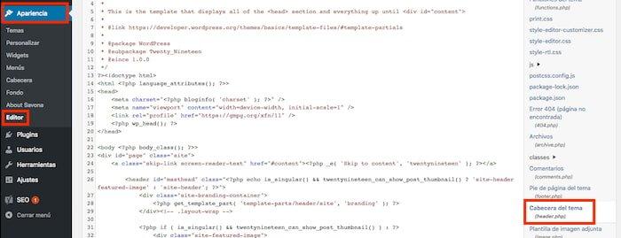 Configuración del archivo header.php para mostrar migas de pan en WordPress