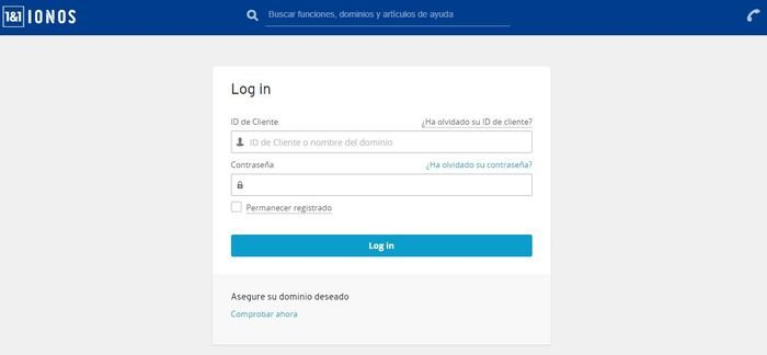 Crear una página web en WordPress. Acceso Login 1and1 Ionos