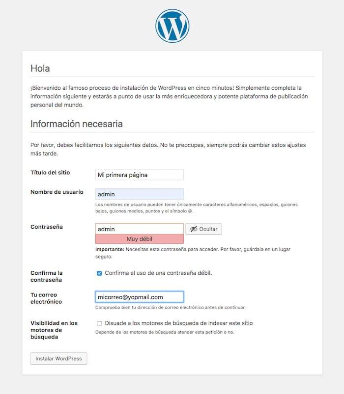 Instalación de WordPress 5
