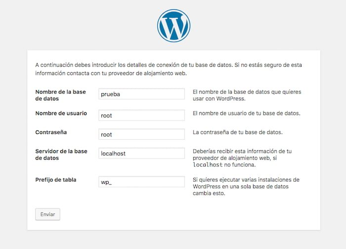 Configuración Base de Datos WordPress