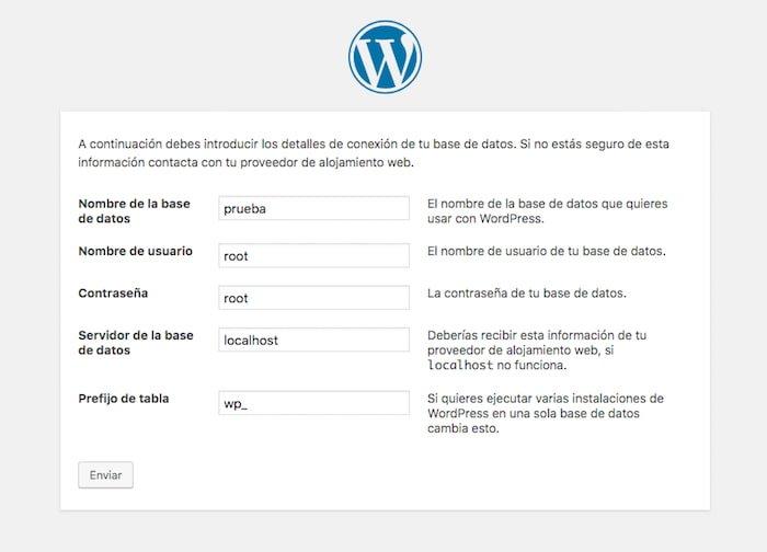 Configuración Base de Datos WordPress