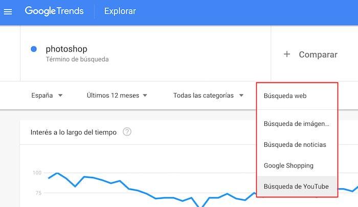 Herramientas SEO para Youtube - Google Trends
