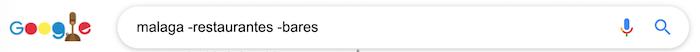 excluir varias palabras claves de los resultados de las búsquedas