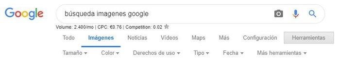 Opciones de búsqueda de imagenes de Google.