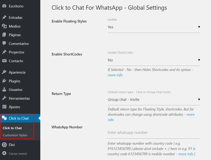 Whatsapp en WordPress - Configurar Click to Chat for Whatsapp WP