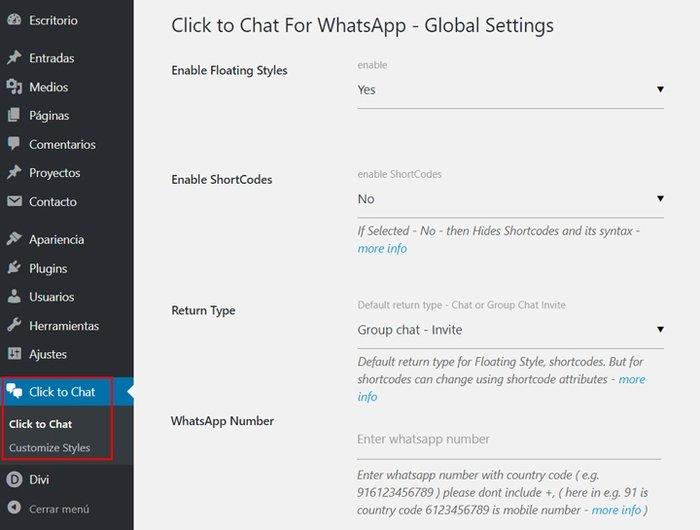 Whatsapp en WordPress - Configurar Click to Chat for Whatsapp WP
