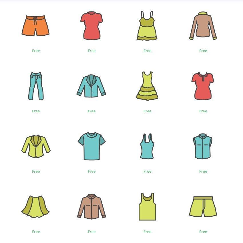 Iconos de colores de ropa en Instagram