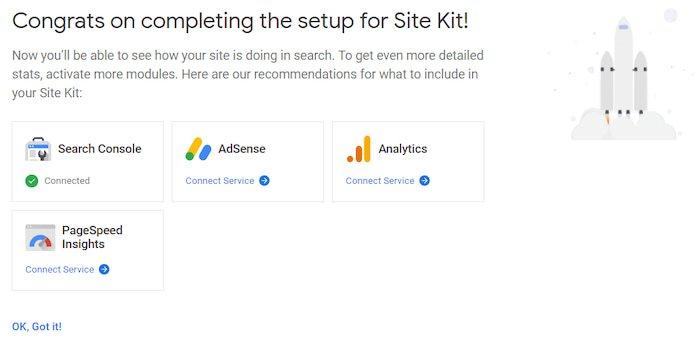 Configuración de Servicios Site Kit