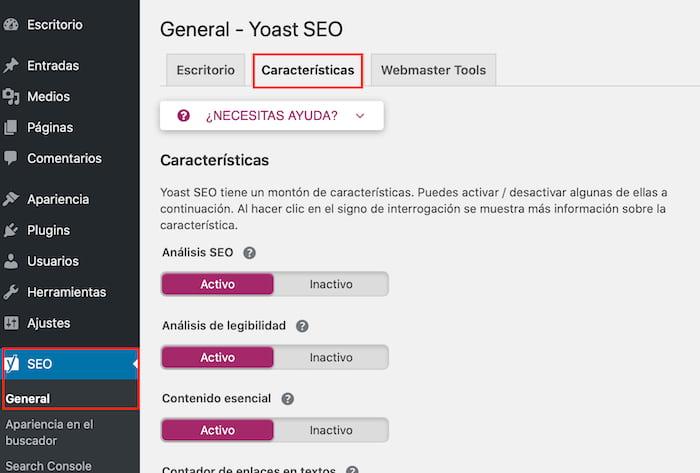 Configuración General de Yoast