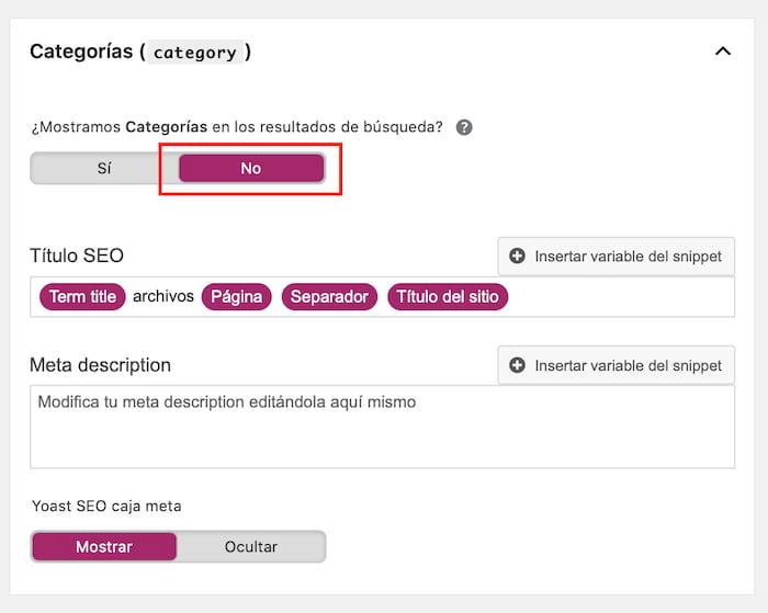 Configurar categorías en Yoast SEO