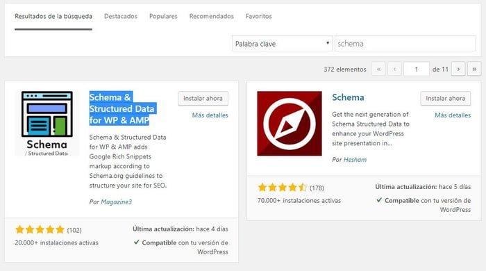 Instalación de Plugin Schema para WordPress