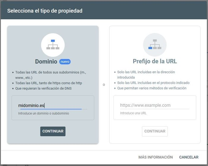 Indexar una web en Google -Seleccionar tipo de Propiedad