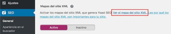 Ver mapa del Sitio XML en Yoast