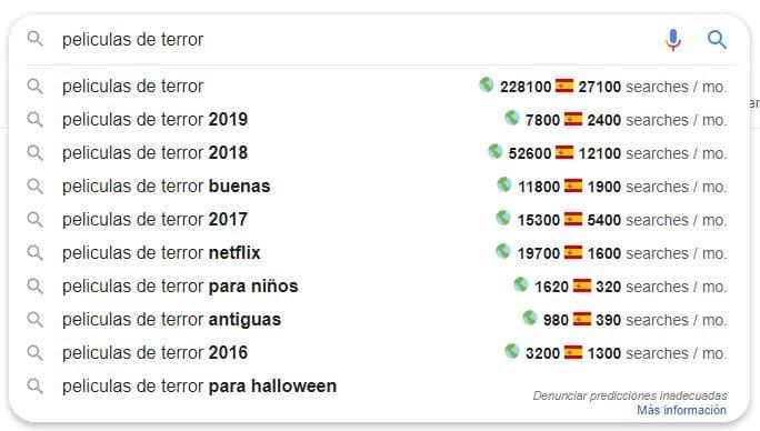Resultados Búsqueda Google con la alternativa a Keyword Everywhere