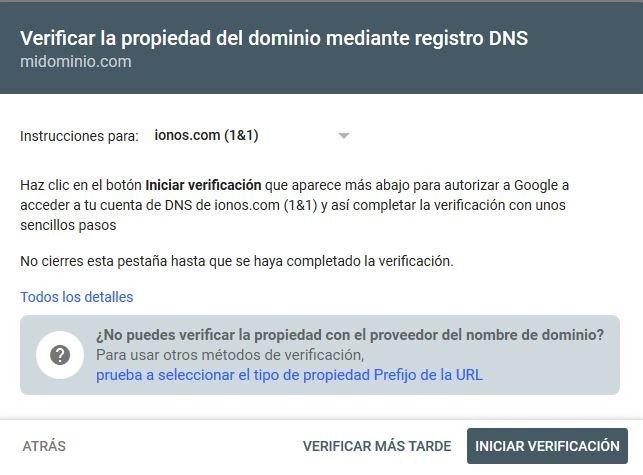 Verificar la propiedad del dominio mediante DNS