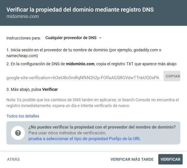 Verificar la propiedad del dominio en Search Console