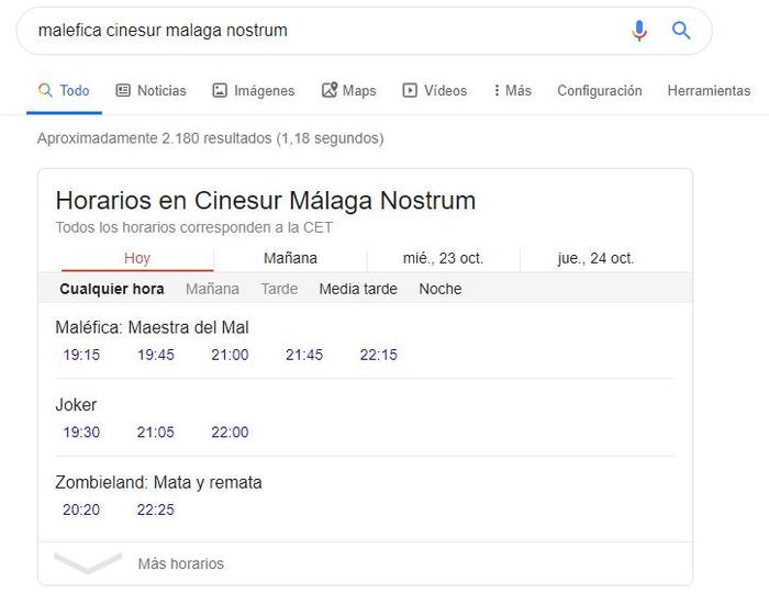 Schema en WordPress - Horarios Cine