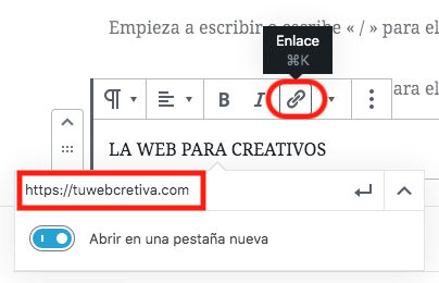 crear un anchor text en WordPress