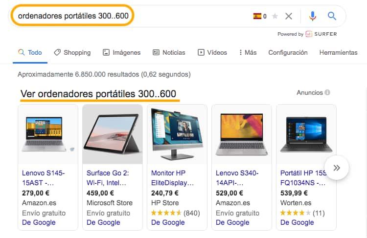 Búsqueda avanzada en Google - Rangos numéricos.
