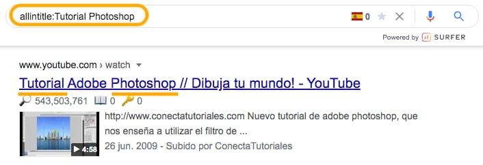 Comando allintitle para búsqueda SEO de palabras claves en el título de una web.