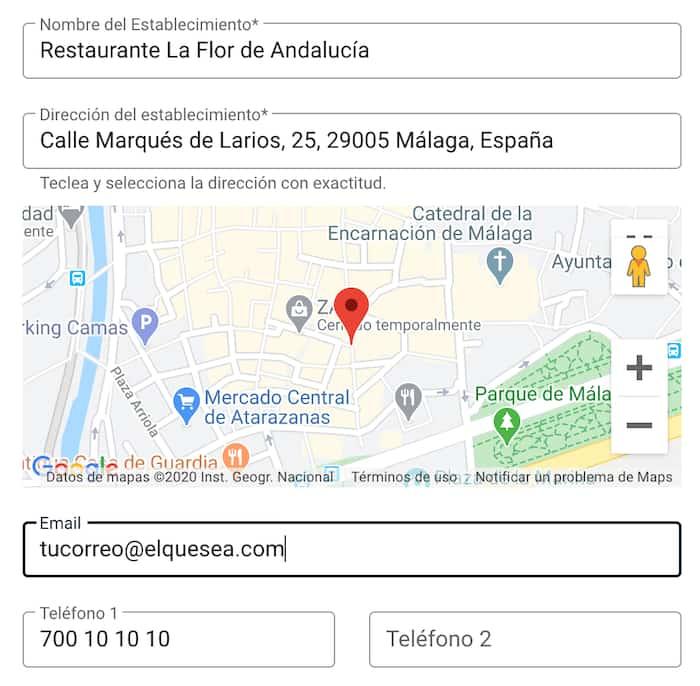 Configurar Teléfono  y Mapa en la Carta de Menú