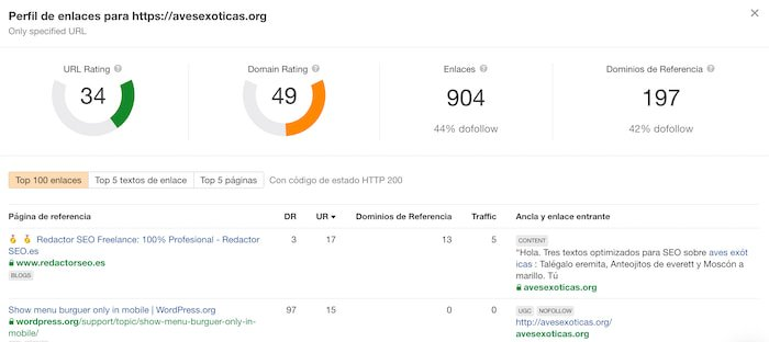 Listado de Enlaces entrantes (Backlinks) de Ahrefs