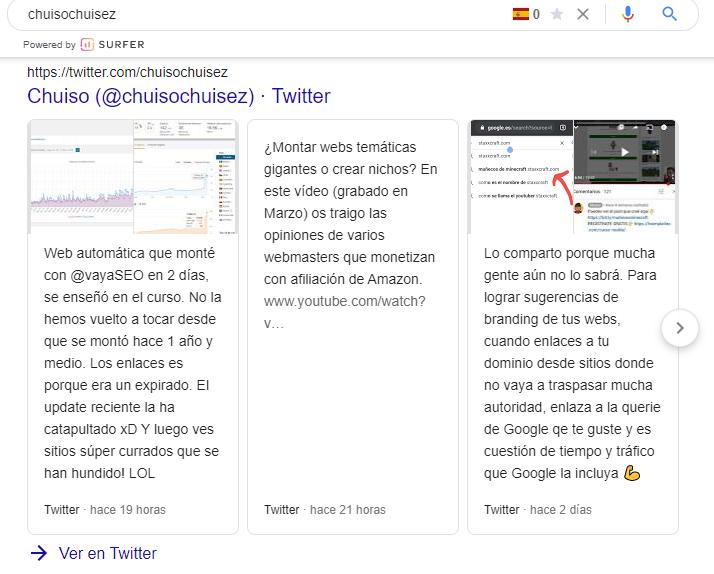 Usar Twitter para aumentar la visibilidad de tu negocio en Google - Carrousel de Twitter -