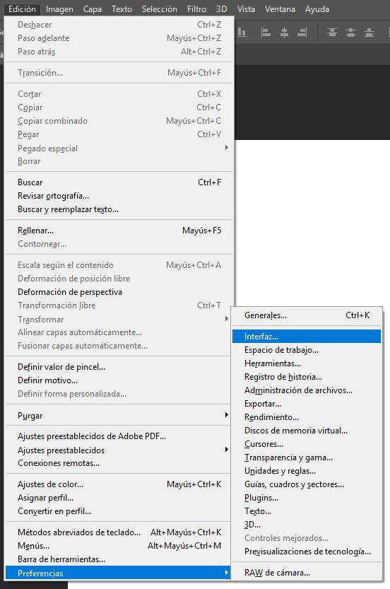 Traducción de comandos de Adobe Photoshop - Cambiar Idioma