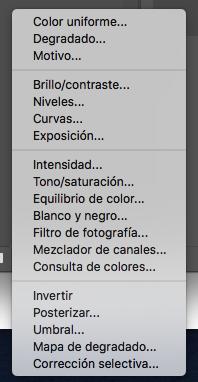 Traducción Comandos Adobe Photoshop de la Capa de Ajuste o Relleno.