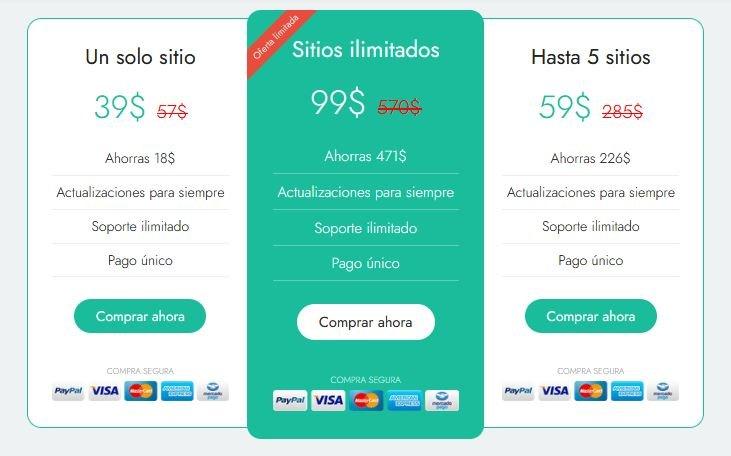 Tabla de precios de la plantilla Asap Theme para WordPress